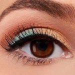 آموزش تصویری آرایش چشم به رنگ آبی و مسی